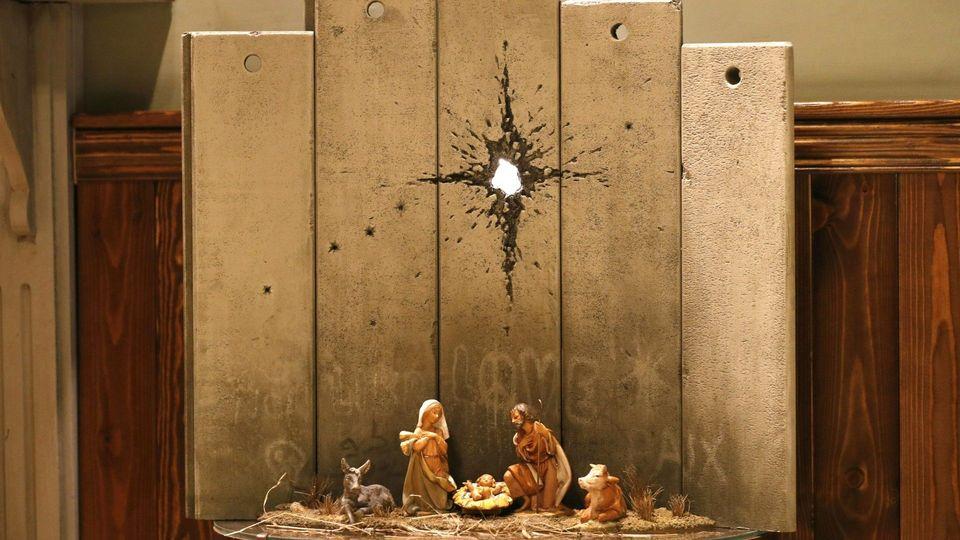 Düstere Weihnachten: Banksy-Krippe in Bethlehem