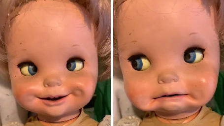 CREEPY SECOND-HAND DOLL MOVES EYES AND MOUTH WHEN ITS ARM IS ROTATED